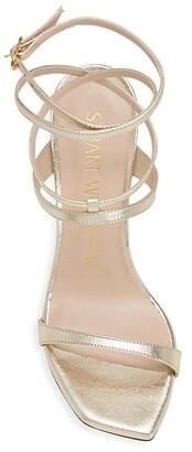 Stuart Weitzman Ellsie Ankle-Wrap Metallic Leather Sandals