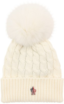 Moncler Wool Cable Knit Hat W/ Pom Pom