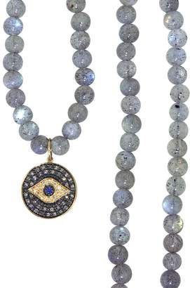 Sydney Evan Medium Evil Eye Disc On Smooth Labradorite Beaded Necklace