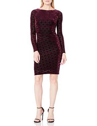 Tommy Hilfiger Womens Women's Long Sleeve Burnout Velvet Side Rouge Dress