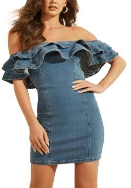 GUESS Rosaleeah Ruffled Off-The-Shoulder Denim Dress