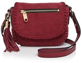 Milly Small Astor Suede Whipstitch Saddle Bag