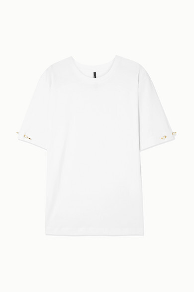 Mother of Pearl + Net Sustain Oversized Faux Pearl-embellished Organic Cotton-jersey T-shirt - White