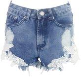 Simplee Apparel Women's Lace Trim Fringe Denim Shorts High Waist Hot Jeans
