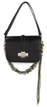 N°21 N21 Lolita Cord-trimmed Cracked Patent-leather Shoulder Bag