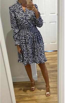Gini London Navy Shirred Waist Long Sleeve Mini Dress