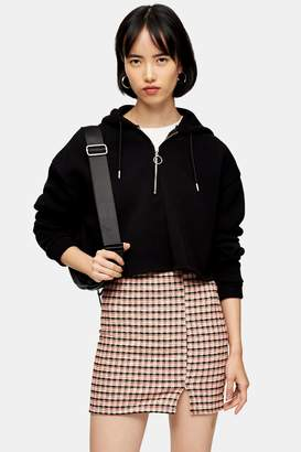 Topshop Womens Pink Check Jersey Mini Skirt - Pink