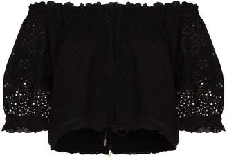 Melissa Odabash Off-Shoulder Embroidered Cropped Blouse