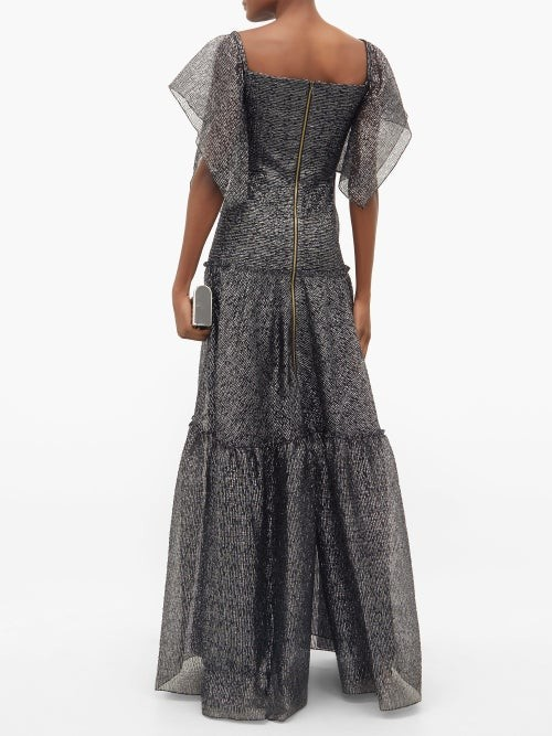 Thumbnail for your product : Roland Mouret Rogers Draped Tiered Gown - Silver Multi