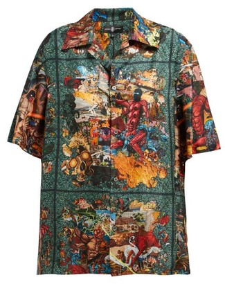 Edward Crutchley Tapestry-print Shirt - Womens - Green Multi