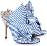 No.21 Blue & White Stripe Satin Bow Mules
