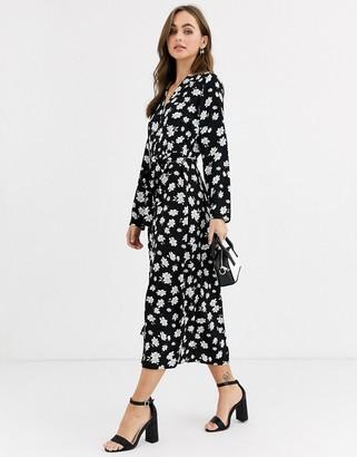 Pimkie floral print shirt dress in black