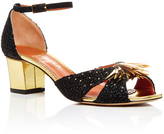 Charlotte Olympia Black Sequined Leather Heel with Raffia Detail
