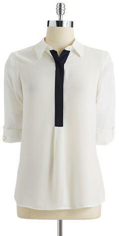 Vince Camuto Petite Roll Tab Sleeved Blouse