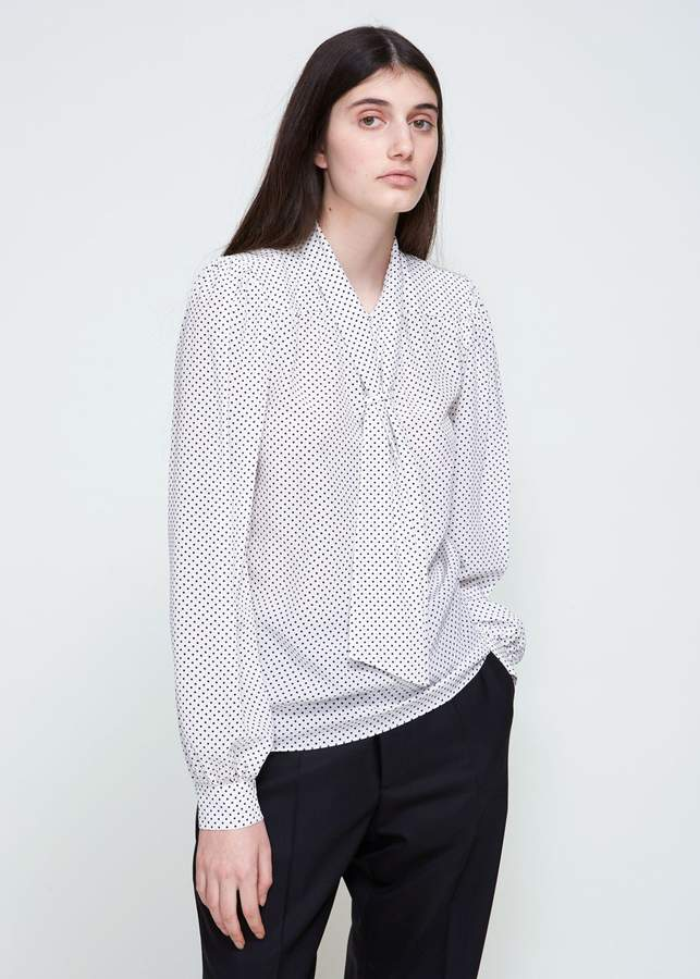 Maison Margiela Small Dots Printed Silk Blouse