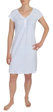 Miss Elaine Printed Lace-Trim Nightgown
