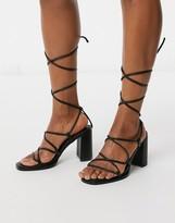 Asos Design DESIGN Hero mid-heeled sandals in black