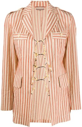 Romeo Gigli Pre Owned 1990s Bead Details Striped Jacket