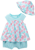 Offspring Geofloral Popover Bodysuit Dress & Hat Set (Baby Girls)