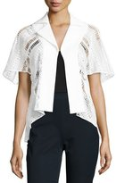 Talbot Runhof Lace & Textured Stretch-Cotton Jacket, White