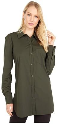 Lysse Schiffer Stretch Microfiber Button Down (True Navy) Women's Long Sleeve Button Up