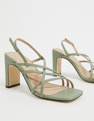 Forever New heeled square toe sandal in sage