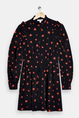 Topshop Black Star Print Shirt Dress