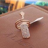 HITTIME New Jewelery Women Retro Alloy Diamond Plum Flower Fake Nail Art Finger Ring