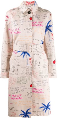 MSGM Sketch Print Belted Trench Coat