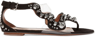 Alaia Embellished Suede Sandals