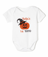 Beary Basics White Pumpkin '1st Boo' Personalized Bodysuit - Infant