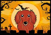 Caroline's Treasures Halloween Longhair Red Dachshund Indoor or Outdoor Mat