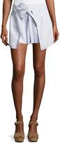 Derek Lam 10 Crosby Tie-Front Wrap Shorts, Sky