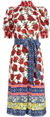 Silva Floral Mock Neck Midi Dress