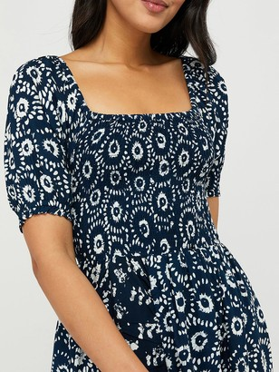 Monsoon Esha Hand-Screen Print Dress - Navy