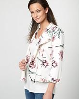 Le Château Floral Print Knit Crepe Zip-Front Blazer