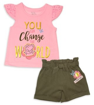 Peppa Pig Baby & Toddler Girl T-shirt & Shorts, 2pc Outfit Set