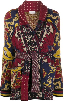 Pierre Louis Mascia Patchwork-Print Wool Cardi-Coat