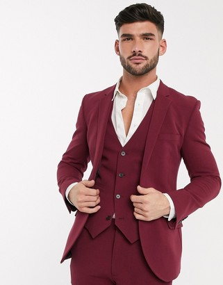 ASOS DESIGN super skinny suit jacket in burgundy in four way stretch