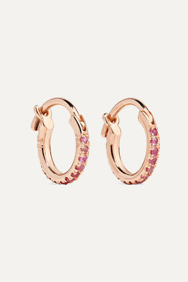 Ileana Makri Mini 18-karat Rose Gold Sapphire Hoop Earrings