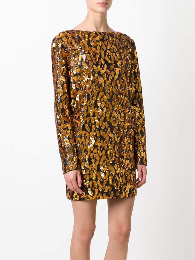 Balmain contrast leopard print dress