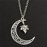 Us Design_CA My Us-DeSiGn_CA: Canada National Flag Symbol Antiqeu Silver Maple Leaf Hollow Moon Autumn Fall Leaves Pendant 70CM Necklace Women Wedding Jewelry