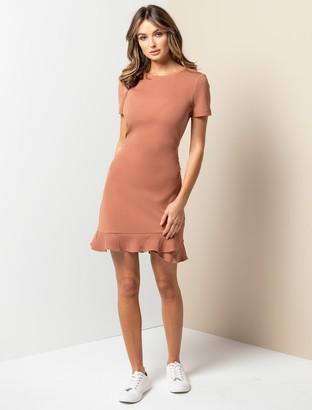 Forever New Annie Rib Short Sleeve Frill Dress - Rust - 10