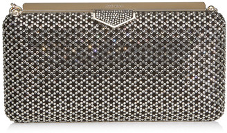 Jimmy Choo ELLIPSE Black Suede Clutch Bag with Diamond Motif Crystal Hotfix