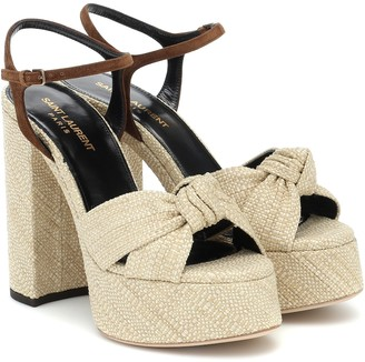 Saint Laurent Bianca raffia platform sandals