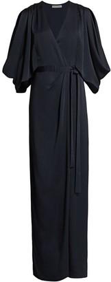 Halston Kimono-Style Wrap Gown