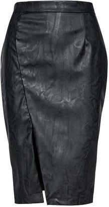 Conquista Dark Grey Faux Leather Pencil Skirt
