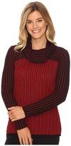 Calvin Klein Grid-Striped Cowl Neck Sweater