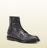Gucci Black Lizard Lace-Up Military Boot
