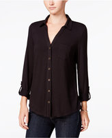 Maison Jules Roll-Tab-Sleeve Shirt, Only at Macy's